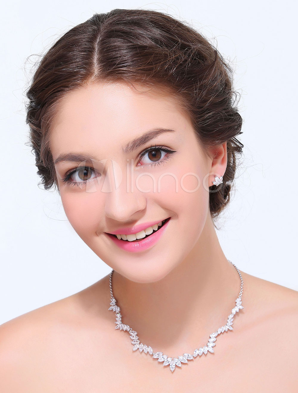 Silver 2-Piece Alloy Wedding Jewelry Set