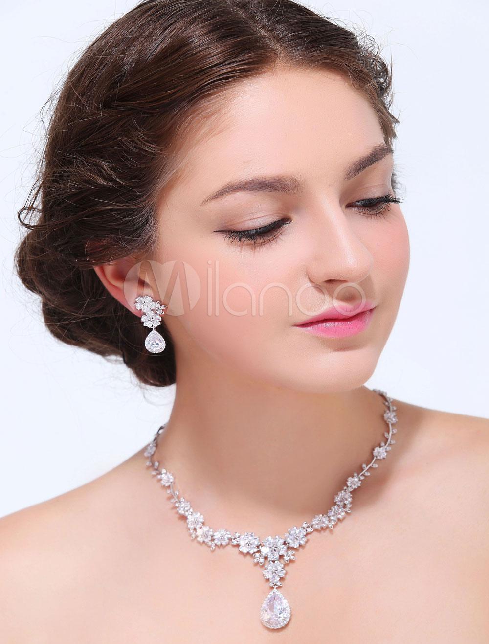 Silver Drops Alloy Wedding Earrings Necklace