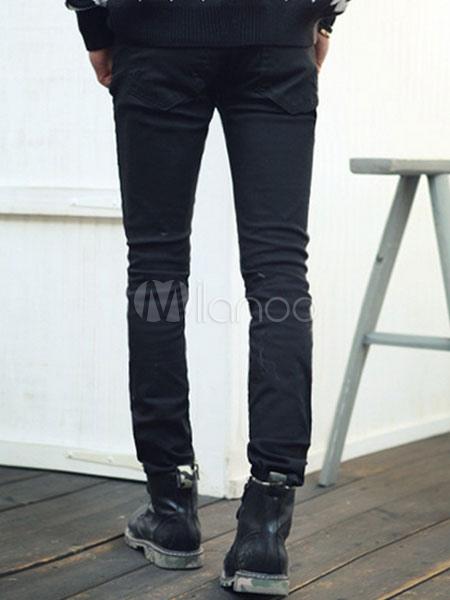 schwarze baumwolle riss skinny jeans f r m nner. Black Bedroom Furniture Sets. Home Design Ideas