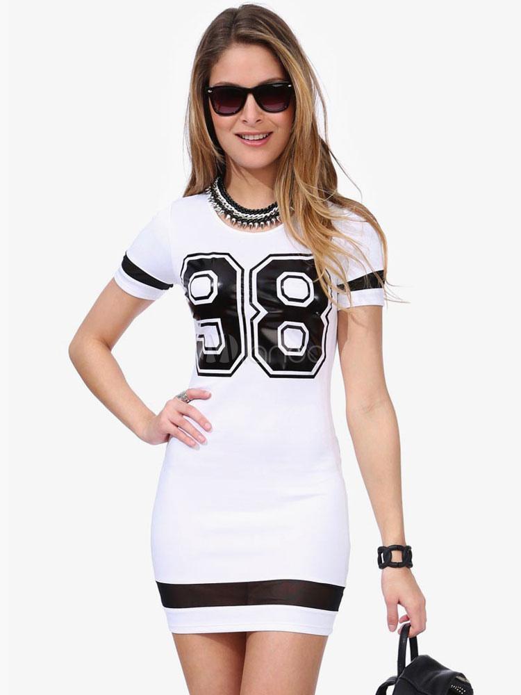 b90c2b2c94 ... Vestido corto de algodón mezclado con escote redondo con manga corta  con estampado de letras ...