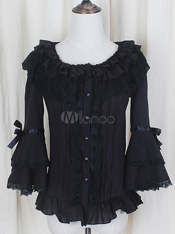 Black Chiffon Lace Lolita Blouse for Women