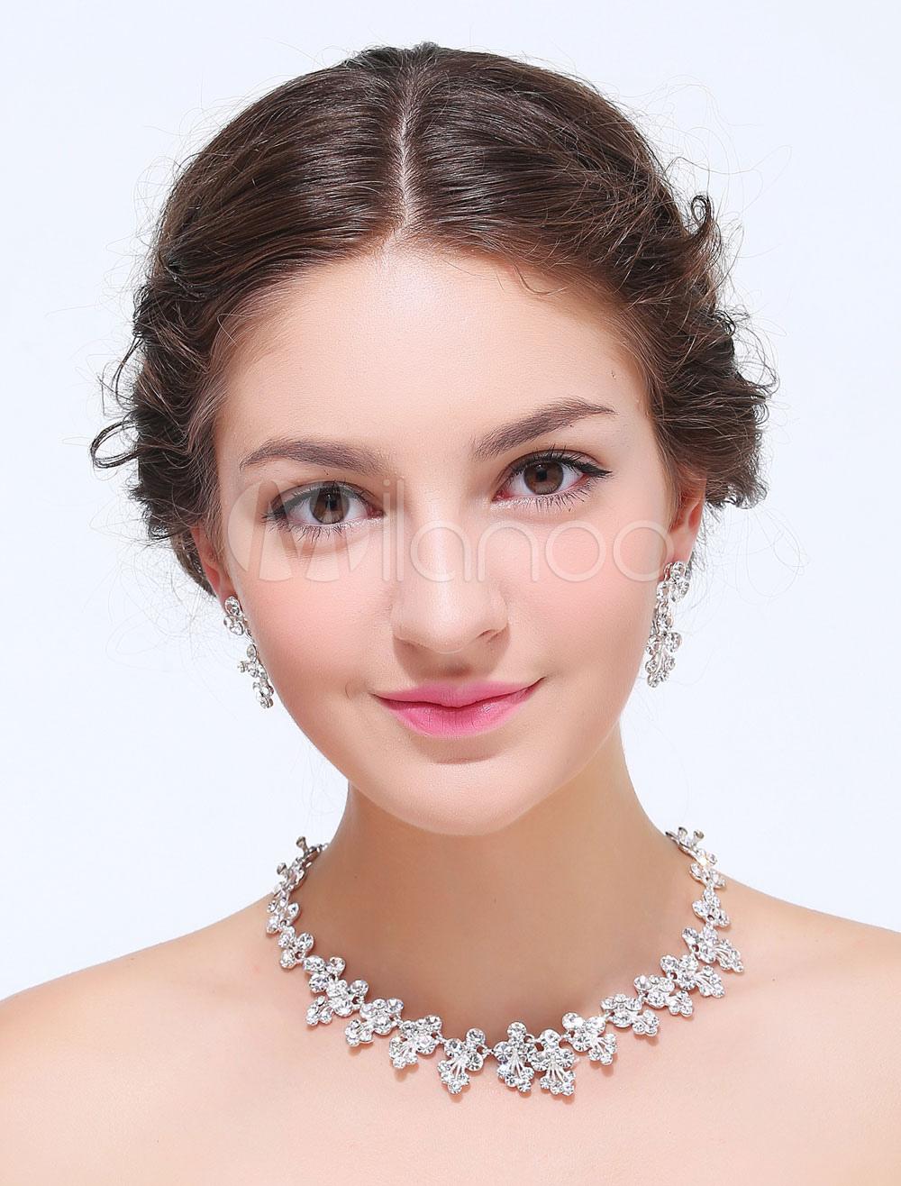 Silver Rhinestoe Alloy Wedding Jewelry Set