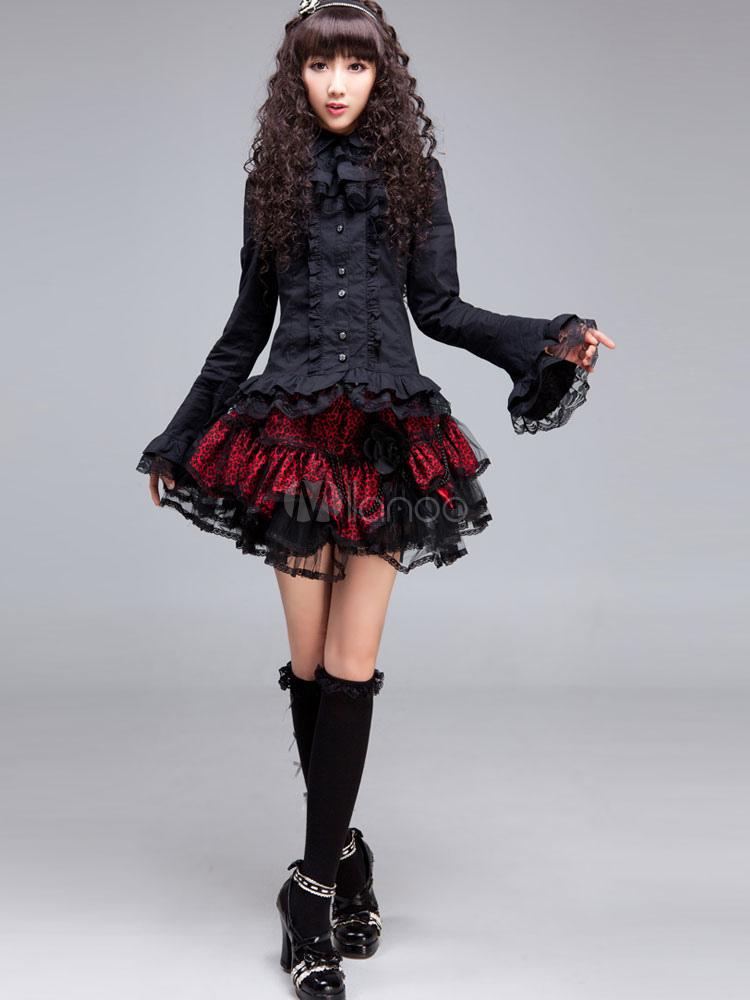 Black Polyester Gothic Lolita Blouse for Women