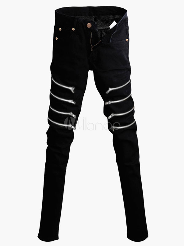 Black Zipped Cotton Skinny Jeans for Men
