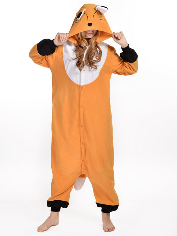 Kigurumi Pajama Fox Onesie Orange Synthetic Mascot Costume Halloween