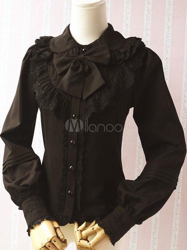 Black Chiffon Gothic Lolita Blouses for Women