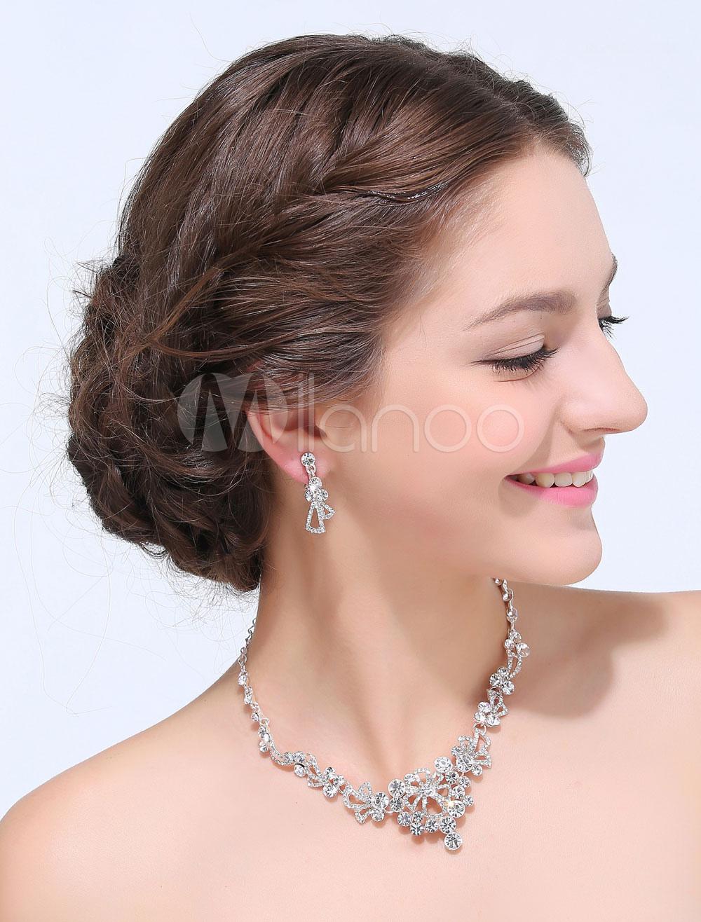 Silver Rhinestone 2-Piece Alloy Wedding Jewelry Set