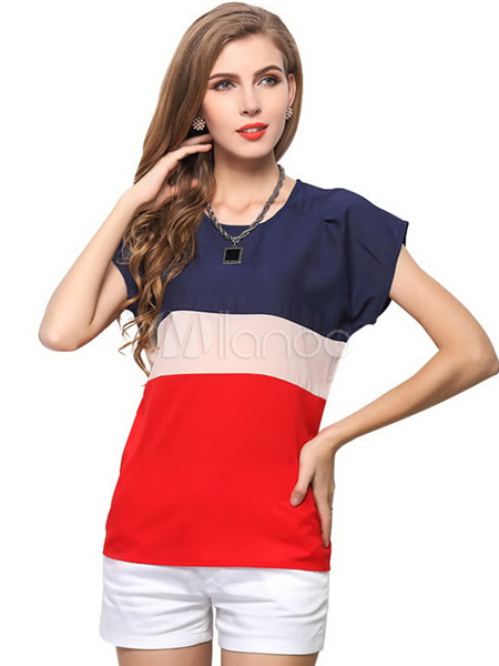 Color Block Polyester Tee Shirt For Women Cheap clothes, free shipping worldwide