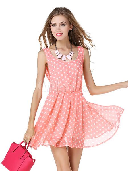 Rosa Gepunkte rückenfreie Sommerkleid für Frauen - Milanoo.com