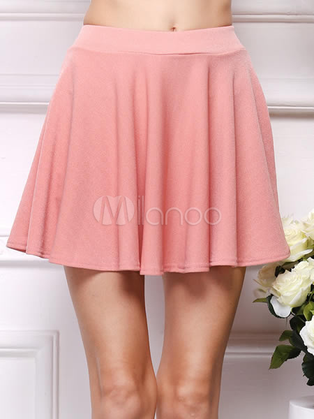 Pink Ruffles Polyester Skirt For Women Cheap clothes, free shipping worldwide