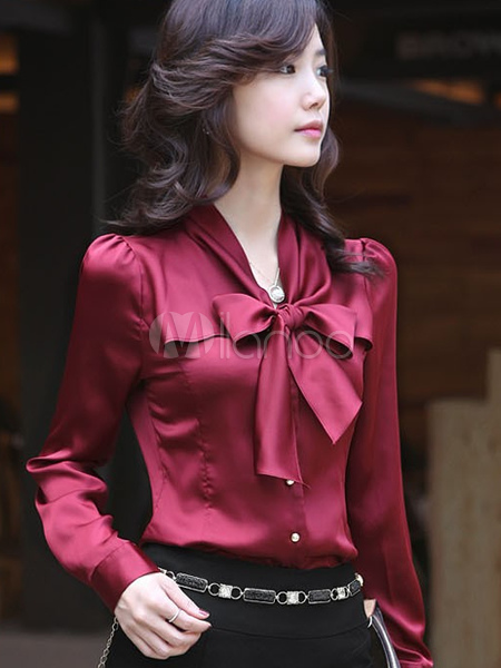 Burgundy Bow Tie Polyester Blouse For Women