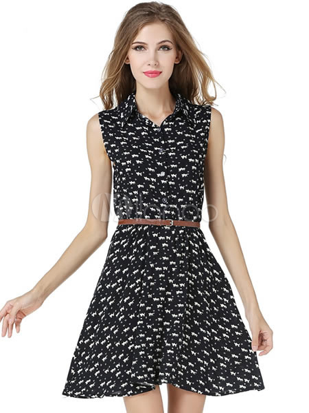 Black Animal Print Polyester Summer Dress For Women Cheap clothes, free shipping worldwide