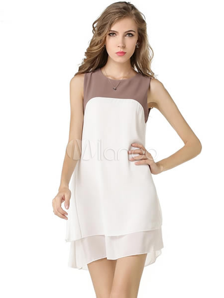 White Color Block Chiffon Summer Dress For Women