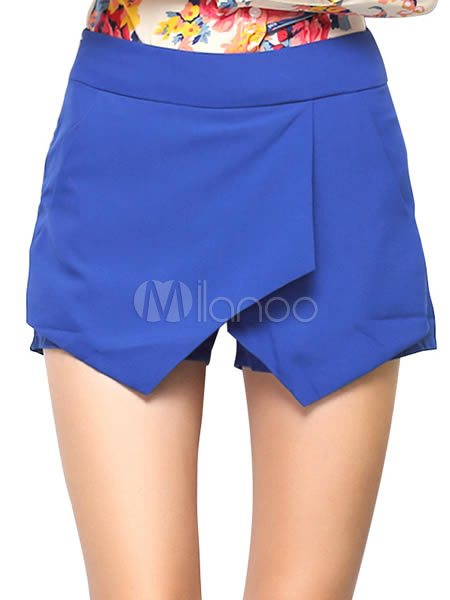 Blue Cotton Blend Wrap Shorts For Women Cheap clothes, free shipping worldwide