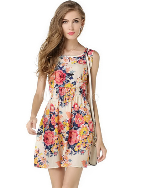 Jewel Neck Print Multicolor Summer Dress For Women
