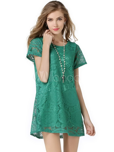 Green Lace Polyester Shift Dress For Women
