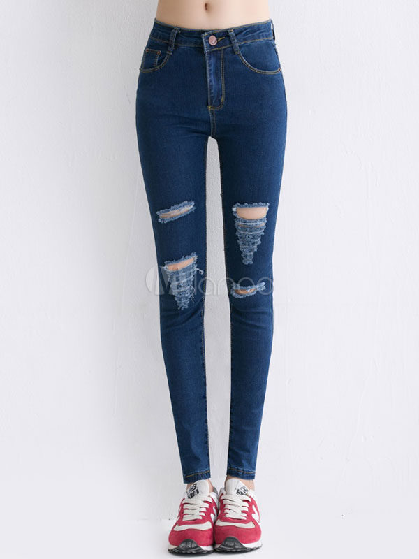 Pantalones De Mezclilla Rotos Azul Intenso Para Las Mujeres Milanoo Com