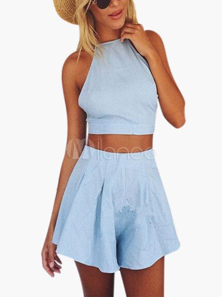 Light Blue Cotton Cropped Skirt Set for Women