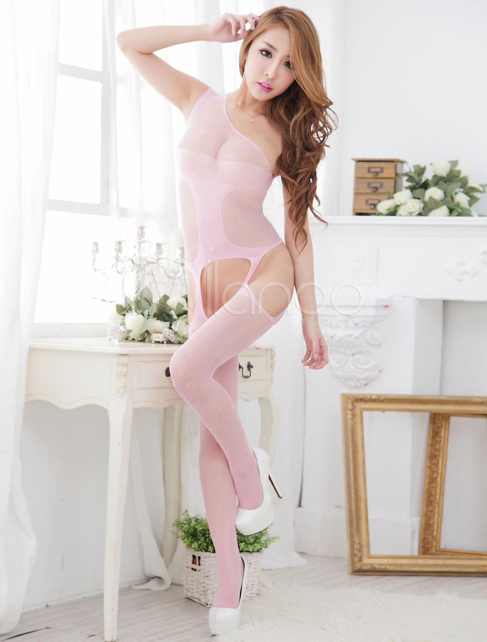 White Cut Out Polyester Bodystocking for Women