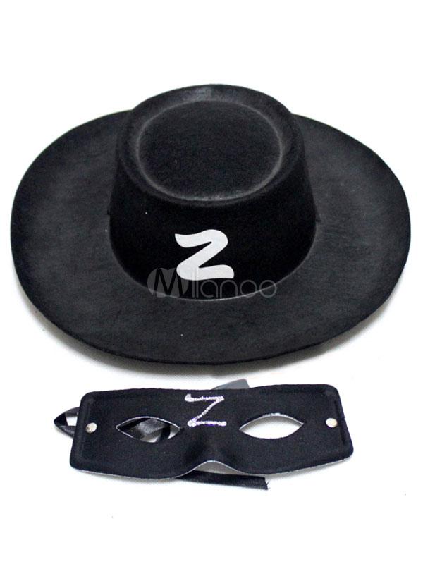 4ae5a6ae123cd Preto do chapéu do Zorro sintético   tapa-olho - Milanoo.com