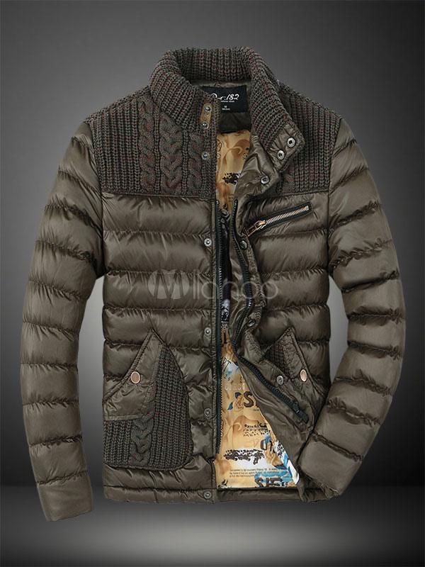 Olive Green Polyester Men's Jacket