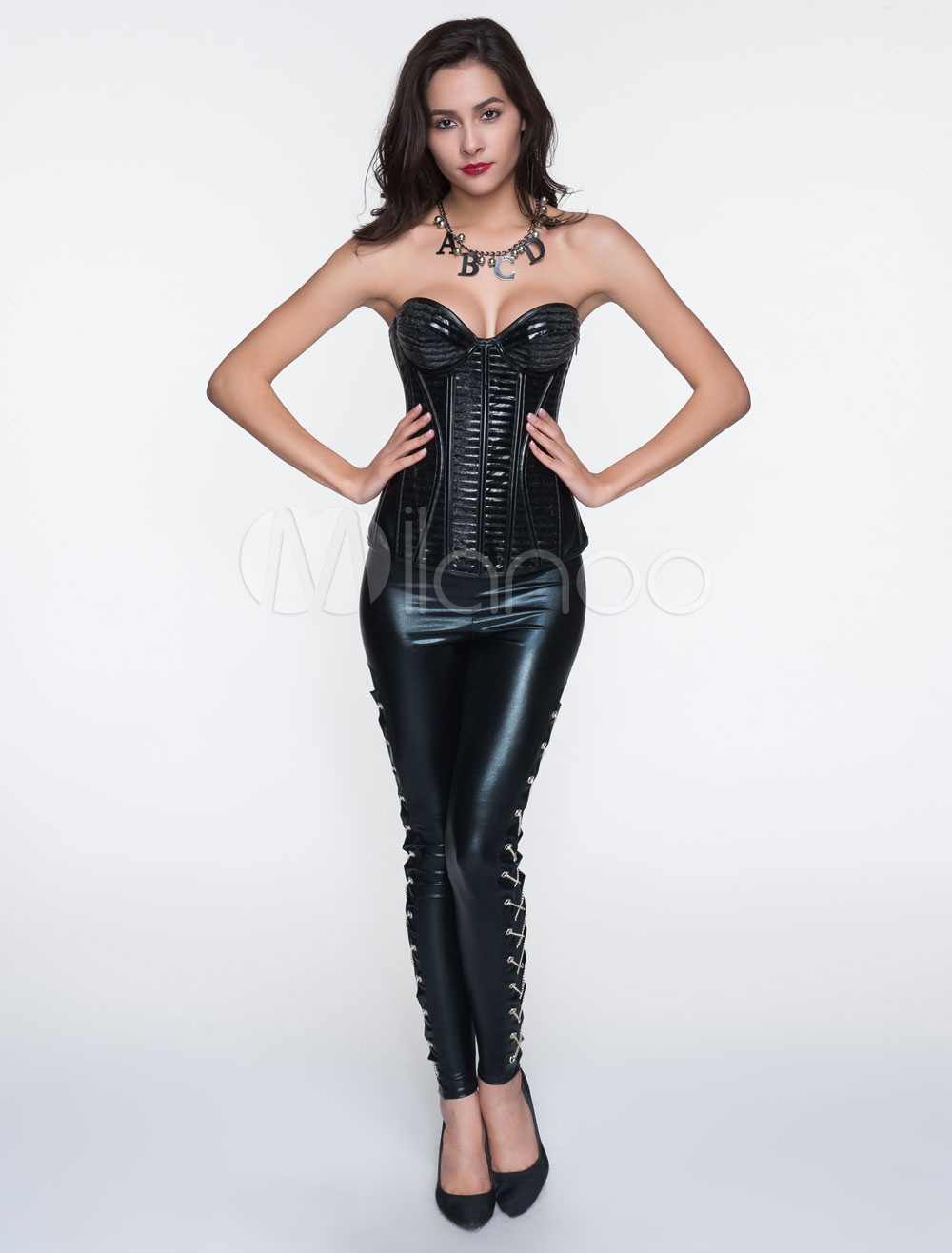 Black Layered Polyester Corsets For Women