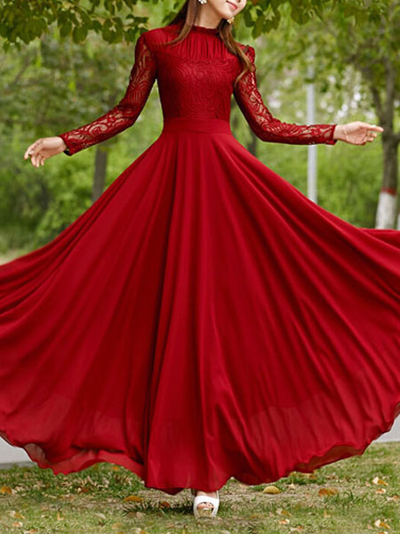Red Long Dress Long Sleeve Maxi Lace Dresses Long Prom Dress