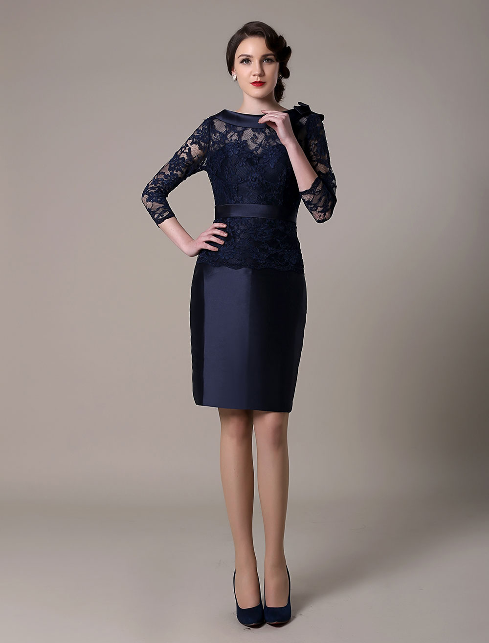 Dark Navy Cocktail Dress Taffeta Lace Homecoming Dress Women Wedding