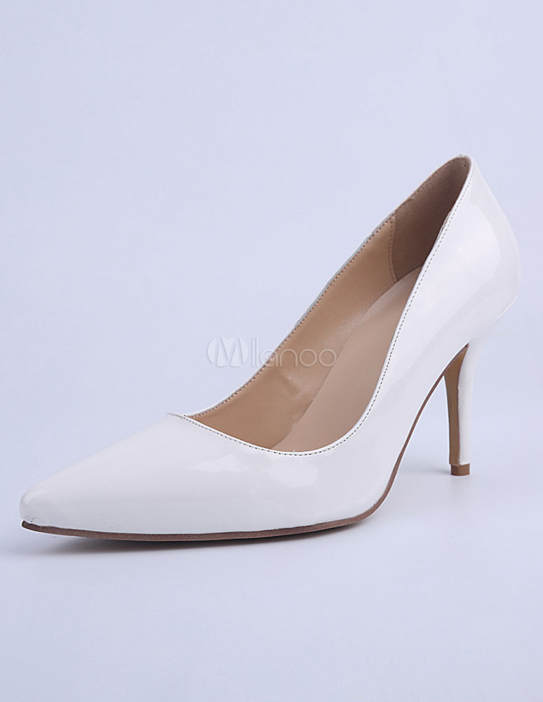 Buy White Pointed Toe PU Pumps For Bride for $58.49 in Milanoo store