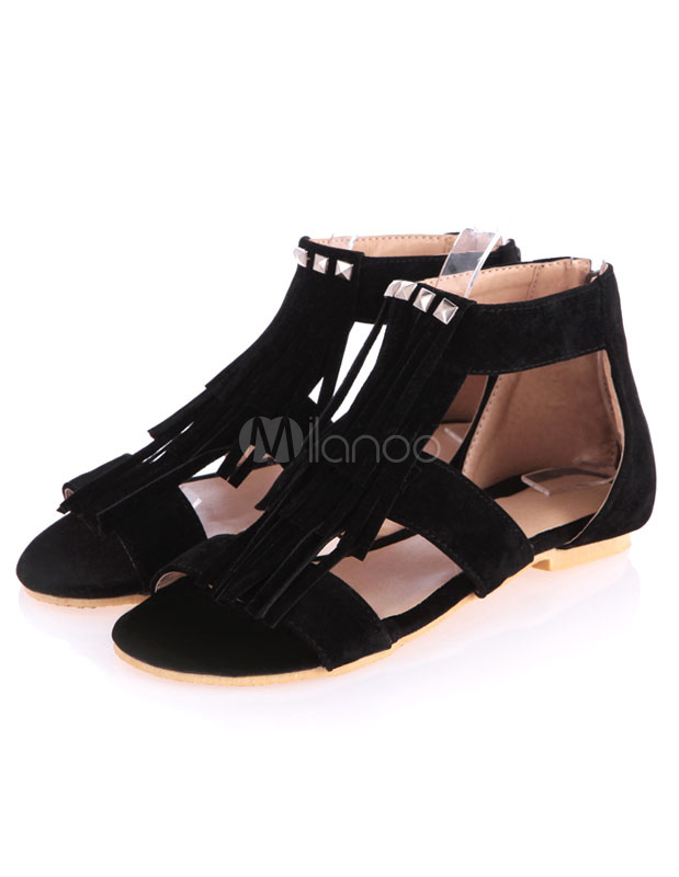 Frange Noire Pu Femmes Pour Sandales Plates yfY76bg