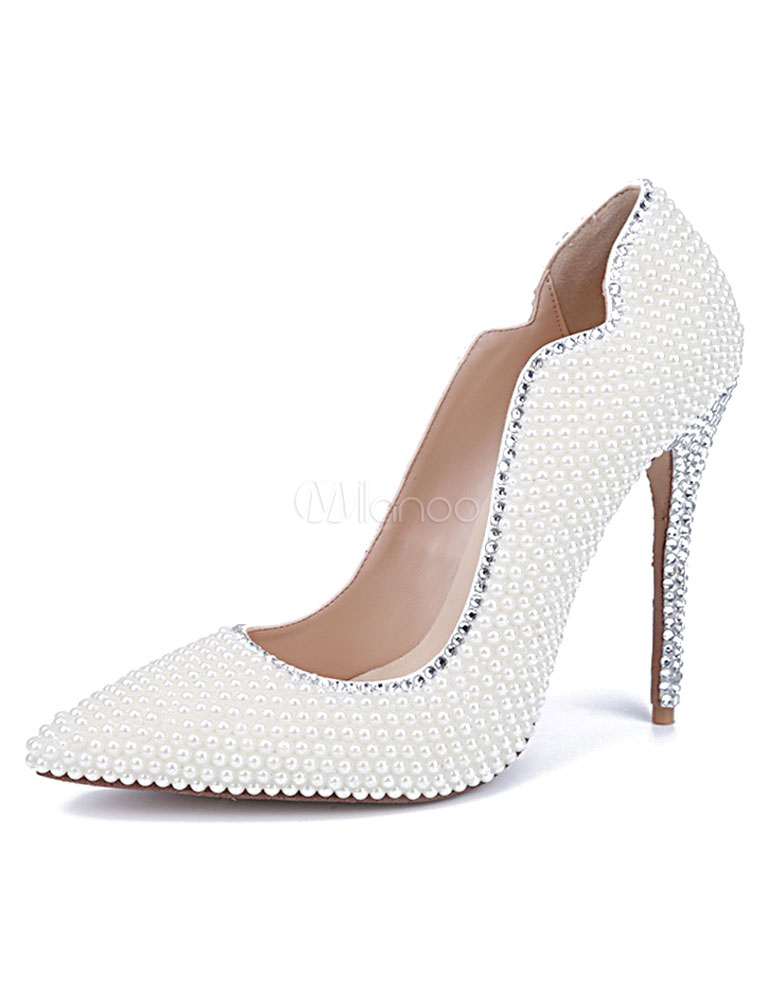 White Pointed Toe Pumps Pearls Evening & Bridal Heels - Milanoo.com