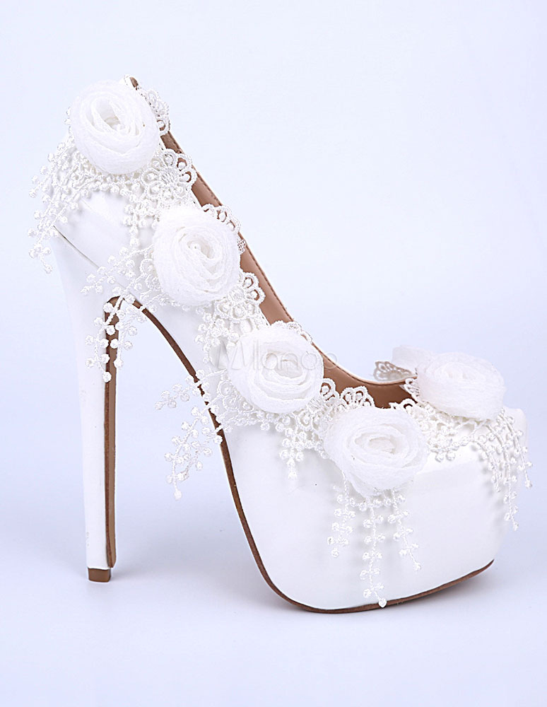 zapatillas 50% rebajado selección premium Blanco flores cuero plataformas tacones altos zapatos de noche y de novia