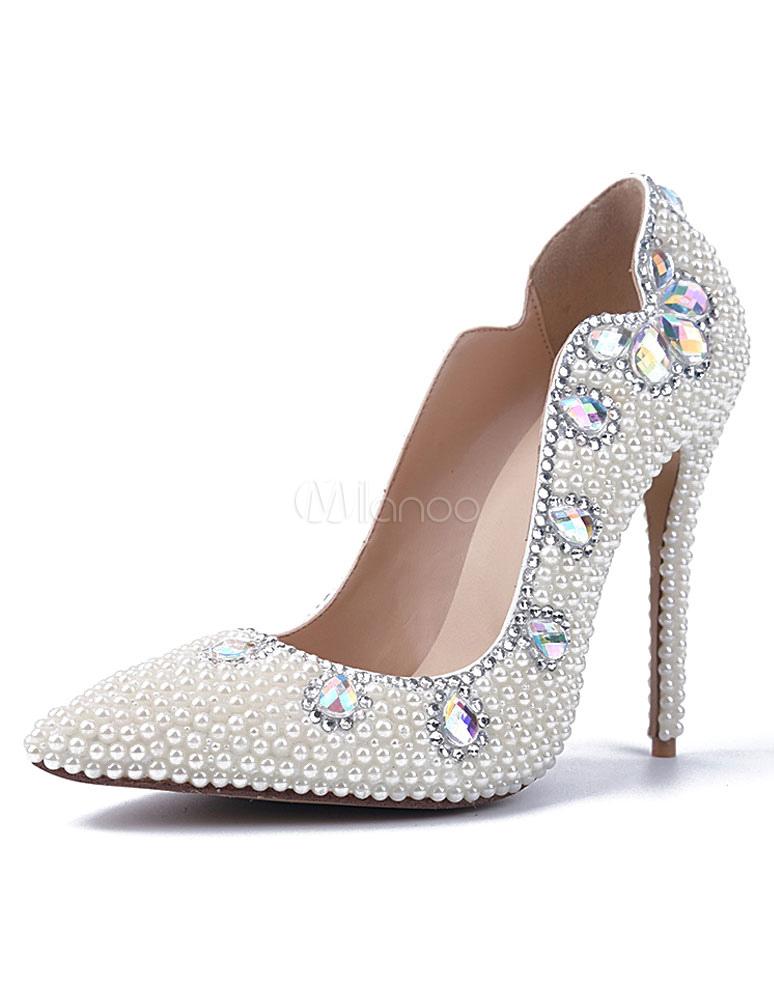 Perles blanches Pointed Toe Pumps cuir verni soir & talons de la mariée