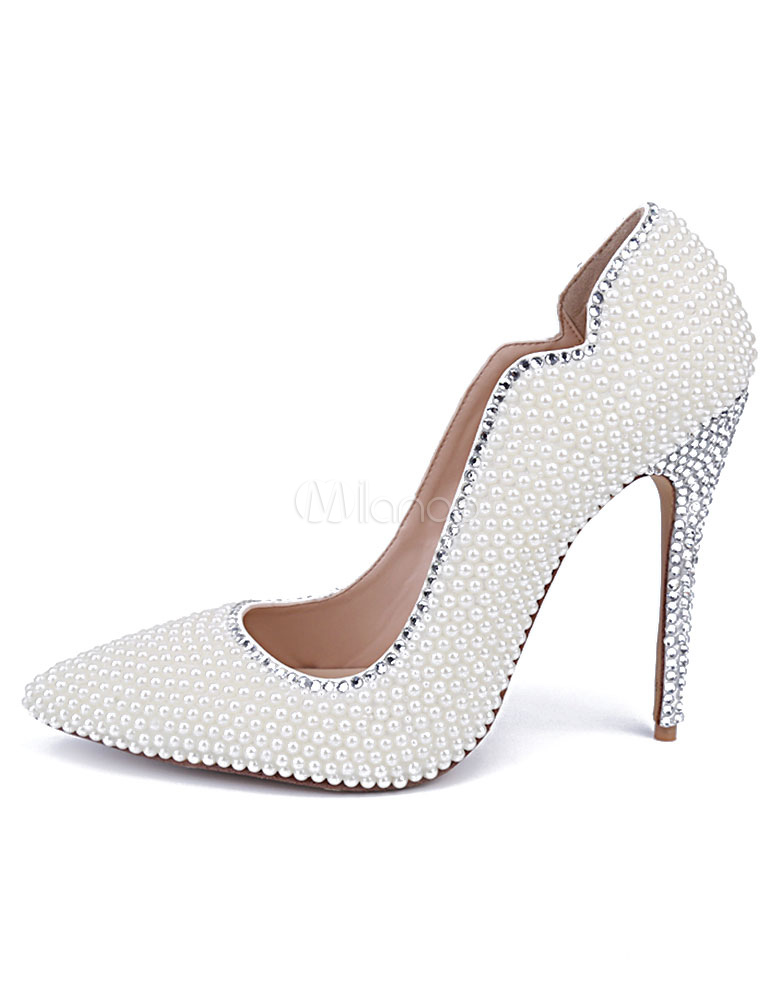 f2d22120f0a White Pointed Toe Pumps Pearls Evening   Bridal Heels - Milanoo.com