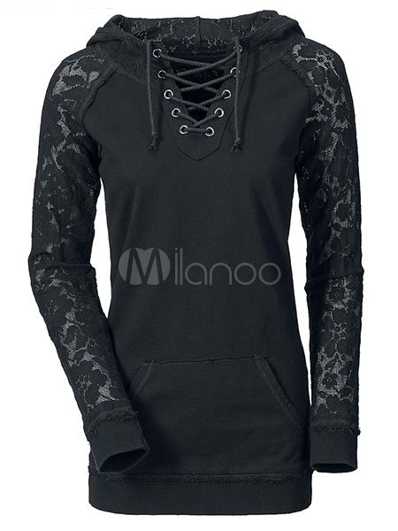Black Cotton Blend Casual Hoodie For Women Cheap clothes, free shipping worldwide