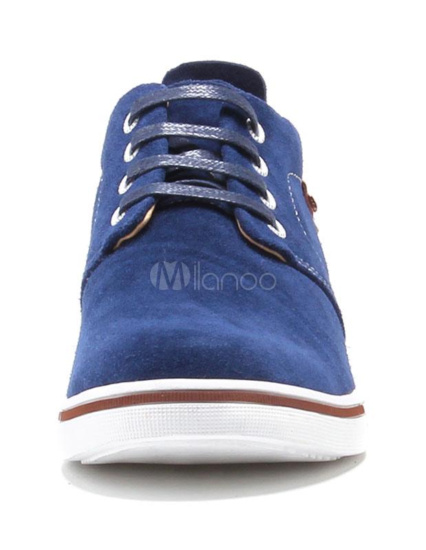 Azul marino gamuza cuero elevador Oxford zapatos para los hombres wOncWz