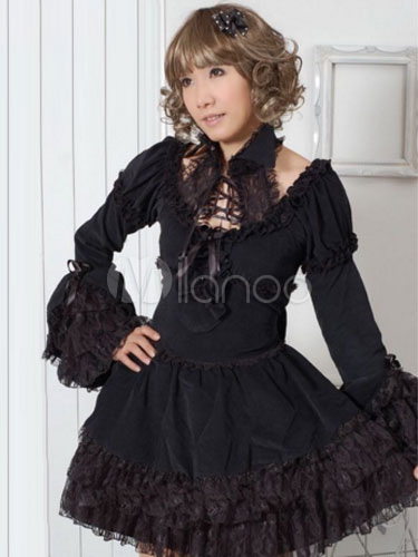 Buy Black Bows Lace Cotton Gothic Lolita One-Piece for $97.99 in Milanoo store