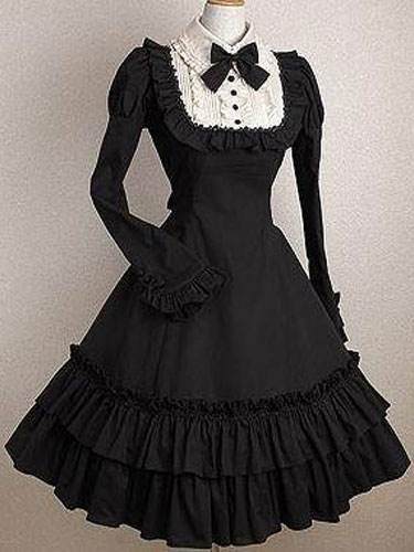 Buy Gothic Lolita Dress OP Black Bows Ruffles Cotton Lolita One Piece Dress for $65.09 in Milanoo store