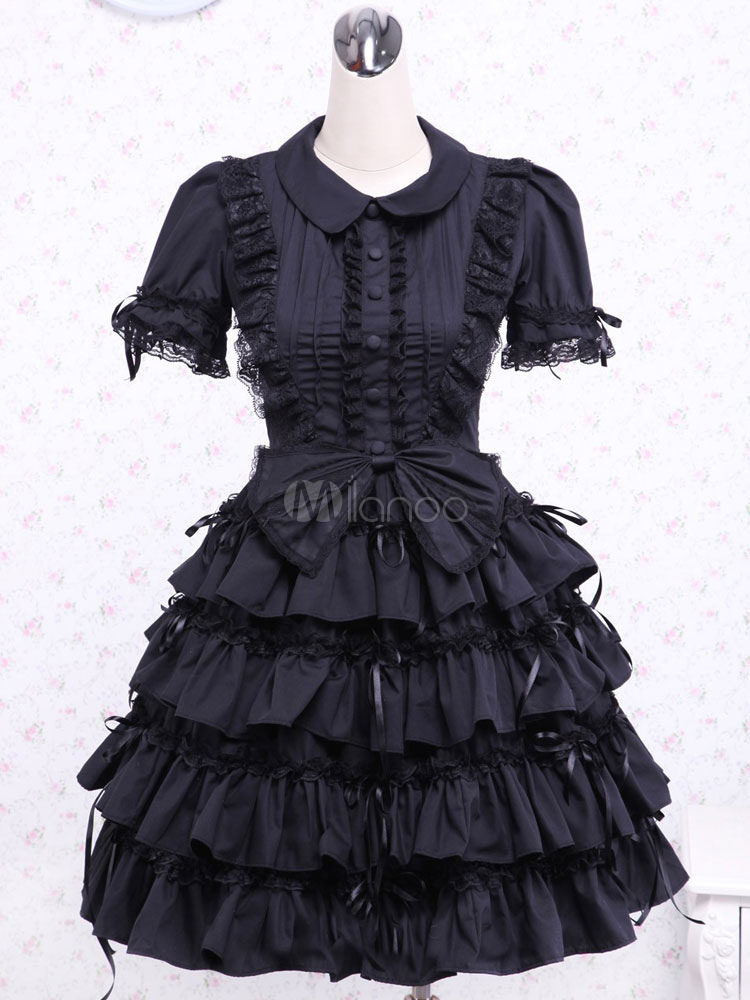 Buy Black Layered Ruffels Cotton Gothic Lolita One-Piece for $97.99 in Milanoo store