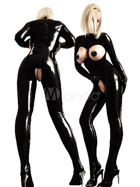 Halloween Sexy Black Open Bust Polyester Catsuits Halloween