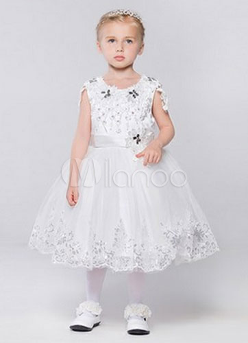 Cap Sleeves Lace Applique Tulle Flower Girl Dress