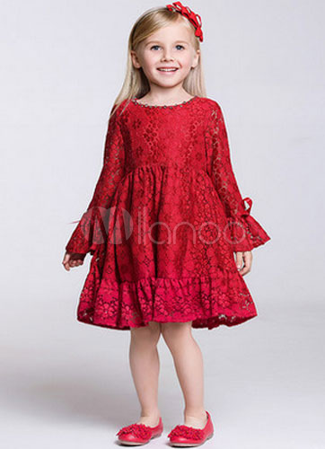 779eeb7885c11 Boho Flower Girl Dress Lace Red Lone Sleeves Kids Party Wear Dress For  Summer-No ...