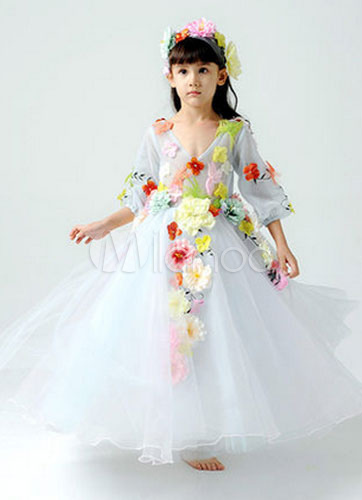 Flower Fairy Beatutiful Long Sleeves Flower Girl Dress Boho