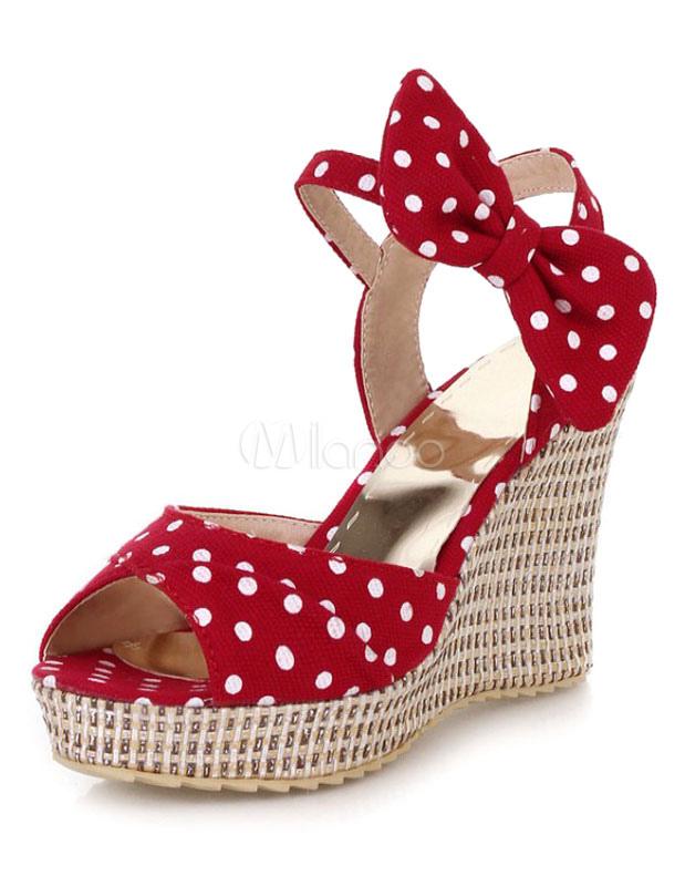 828222c68862c Chaussures femme · Sandales · Sandales compensées ruban aux chevilles en  tissu avec noeud-No.1 ...