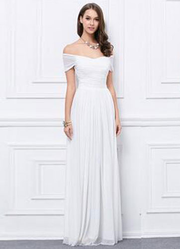 Off-the-Shoulder Chiffon Bridesmaid Dress