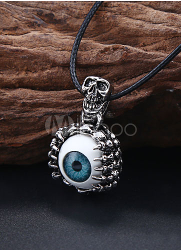 Evil Eye Pendant Necklace Woven Alloy