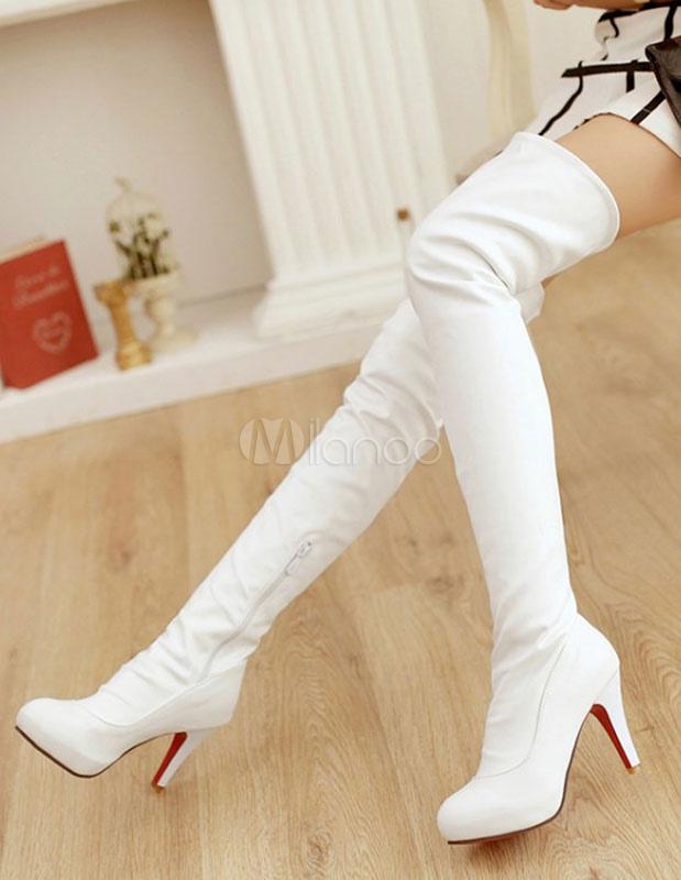 Muslo sexy mujeres blanco PU para sobre botas las altas rodilla de botas 7txqwr7