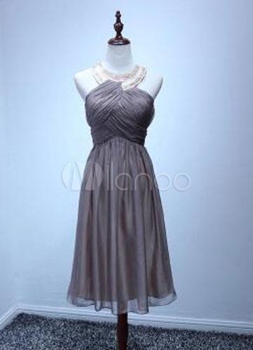 Jewel Neck Ruched Bodice Chiffon Cocktail Dress