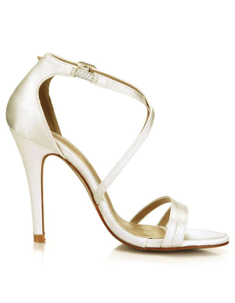 ... Sandales de mariée en satin ivoire avec boucle à talons aigus ruban aux  chevilles-No ...
