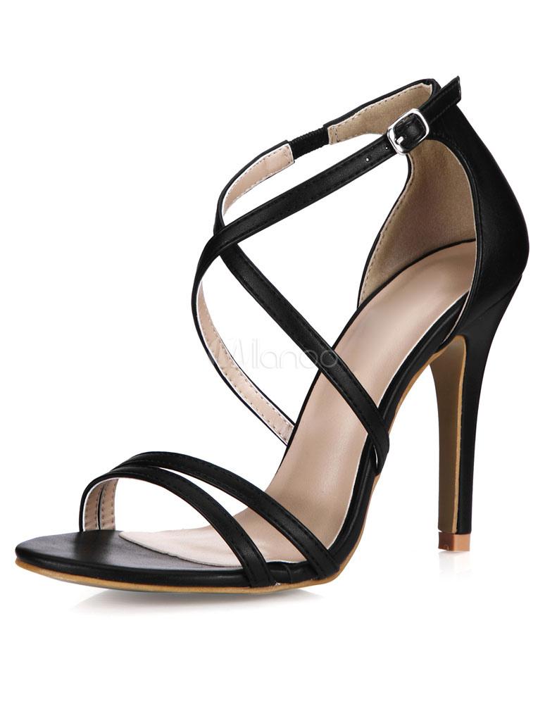 Black PU Fashion Gladiator Sandals for Women